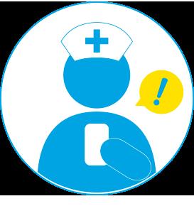 起床離床センサーmittell【ミッテル】のコールに気が付く看護士、介護士